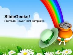 Rainbow With Green Hat Shamrock Coins Patricks PowerPoint Templates Ppt Backgrounds For Slides 0313