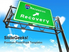 Recession Sign Metaphor PowerPoint Templates And PowerPoint Backgrounds 0611