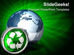 Recycle Icon Globe PowerPoint Backgrounds And Templates 1210