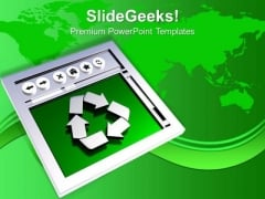 Recycled Symbol Environment Energy Wastage PowerPoint Templates Ppt Backgrounds For Slides 0113