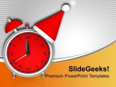 Red Alarm Clock Time To Celebrate PowerPoint Templates Ppt Backgrounds For Slides 0113
