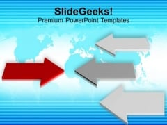 Red And White Arrows Opposition Concept PowerPoint Templates Ppt Backgrounds For Slides 0113