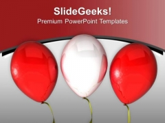Red And White Balloons For Theme Party PowerPoint Templates Ppt Backgrounds For Slides 0513