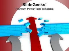 Red Arrow Breaking Wall Solution Concept PowerPoint Templates Ppt Backgrounds For Slides 0213