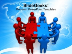 Red Blue Two Teams Holding Puzzle PowerPoint Templates Ppt Backgrounds For Slides 0213