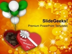 Red Box Of Chocolates With Balloons PowerPoint Templates Ppt Backgrounds For Slides 0213