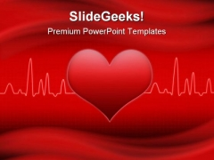 Red Cardiogram Heart Medical PowerPoint Backgrounds And Templates 1210