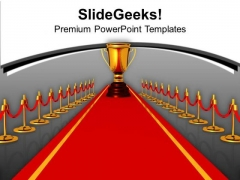 Red Carpet Path To Trophy Winner PowerPoint Templates Ppt Backgrounds For Slides 0313
