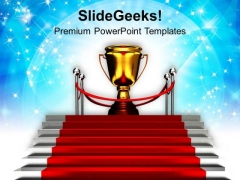 Red Carpet Stairway To Trophy Success PowerPoint Templates Ppt Backgrounds For Slides 0113