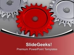 Red Central Gear For Process Flow PowerPoint Templates Ppt Backgrounds For Slides 0713