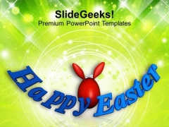 Red Easter Bunny Egg Holiday PowerPoint Templates Ppt Backgrounds For Slides 0313