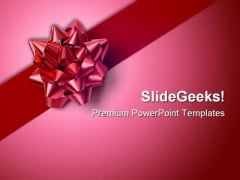Red Gift Wrap Bow Beauty PowerPoint Templates And PowerPoint Backgrounds 0411