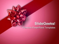 Red Gift Wrap Bow Beauty PowerPoint Themes And PowerPoint Slides 0411