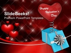 Red Heart Coming Out Of Gift Box Valentines PowerPoint Templates Ppt Backgrounds For Slides 0213