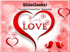 Red Love Heart Abstract PowerPoint Templates And PowerPoint Themes 0512