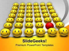 Red Odd One Out Smiley Happiness PowerPoint Templates Ppt Backgrounds For Slides 0313