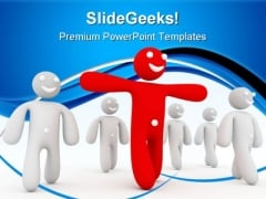 Red Person Leads Leadership PowerPoint Templates And PowerPoint Backgrounds 0611