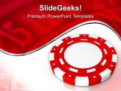 Red Poker Chip Casino Money PowerPoint Templates Ppt Backgrounds For Slides 0313