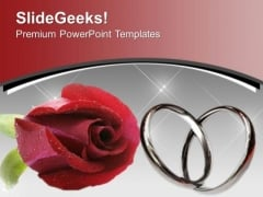 Red Rose With Wedding Rings Flower PowerPoint Templates Ppt Backgrounds For Slides 0613