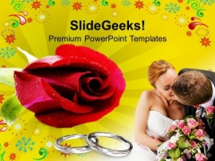 Red Rose With Wedding Rings PowerPoint Templates Ppt Backgrounds For Slides 0613