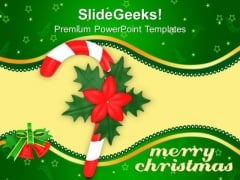 Red Single Candy Cane With Red Flower Christmas PowerPoint Templates Ppt Backgrounds For Slides 1212