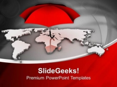 Red Umbrella Shows Danger On World PowerPoint Templates Ppt Backgrounds For Slides 0313