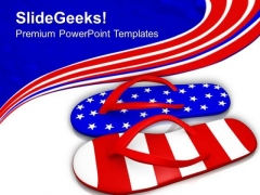 Red White And Blue Flip Flop Sandals PowerPoint Templates Ppt Backgrounds For Slides 0513