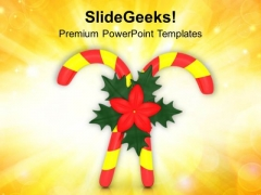 Red Yellow Candy Cane With Red Flower PowerPoint Templates Ppt Backgrounds For Slides 1212