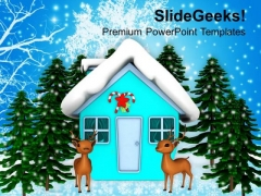Reindeers And Pine Tree Winter Holidays PowerPoint Templates Ppt Backgrounds For Slides 1212