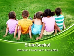 Relaxing In Garden Children PowerPoint Themes And PowerPoint Slides 0411