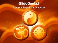 Religious Symbols Religion PowerPoint Template 0610