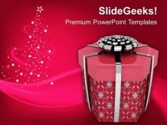 Render Of Christmas Gift PowerPoint Template 1113