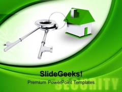 Render Of Green House Connected With Keys Sale PowerPoint Templates And PowerPoint Themes 1012
