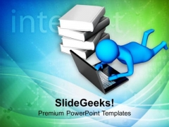 Replace Books With Online Study Material PowerPoint Templates Ppt Backgrounds For Slides 0713