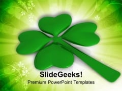 Republic Of Ireland Lucky Clover Leaf PowerPoint Templates Ppt Backgrounds For Slides 0313