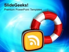 Rescue Icon Rss Information PowerPoint Templates Ppt Backgrounds For Slides 0113