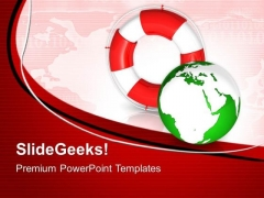 Rescue Icon World Global PowerPoint Templates And PowerPoint Themes 0712
