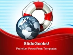 Rescue Icon World Globe PowerPoint Themes And PowerPoint Slides 0811