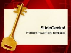 Retro Key On Paper Card Security PowerPoint Templates And PowerPoint Backgrounds 0211
