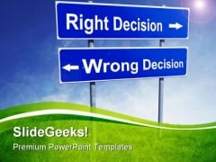 Right Wrong Decision Symbol PowerPoint Templates And PowerPoint Backgrounds 0911