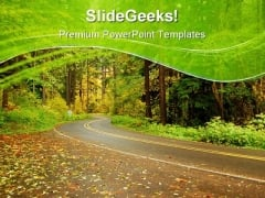Road In Autumn Nature PowerPoint Themes And PowerPoint Slides 0811