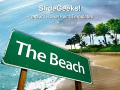 Road Sign Beach PowerPoint Themes And PowerPoint Slides 0711