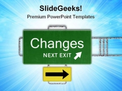 Road Sign Change Symbol PowerPoint Themes And PowerPoint Slides 0711