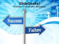 Roadsign Of Success And Failure PowerPoint Templates Ppt Backgrounds For Slides 0113