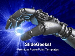 Robot Hand And Earth Globe PowerPoint Themes And PowerPoint Slides 0311