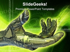Robot Hand Technology PowerPoint Template 0510