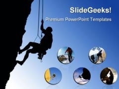 Rock Climber Struggle Sports PowerPoint Templates And PowerPoint Backgrounds 0311