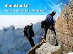 Rock Climbers Sports PowerPoint Templates And PowerPoint Backgrounds 0711