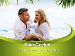 Romantic Couple Beach PowerPoint Backgrounds And Templates 1210