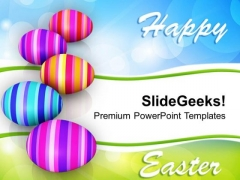 Row Of Colorful Easter Eggs Celebration PowerPoint Templates Ppt Backgrounds For Slides 0313